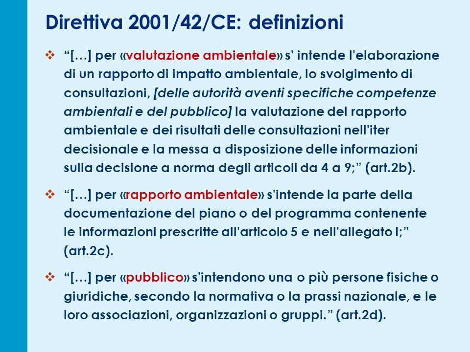 Direttiva 2001/42/CE: definizioni […] per «valutazione ambientale» s' intende l'elaborazione di un rapporto di impatto ambientale, lo svolgimento di c