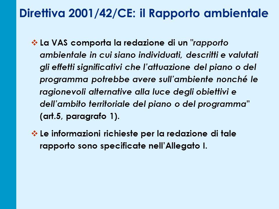 Direttiva 2001/42/CE: il Rapporto ambientale La VAS comporta la redazione di un rapporto ambientale in cui siano individuati, descritti e valutati gli effetti significativi che lattuazione del piano o del programma potrebbe avere sullambiente nonché le ragionevoli alternative alla luce degli obiettivi e dellambito territoriale del piano o del programma (art.5, paragrafo 1).