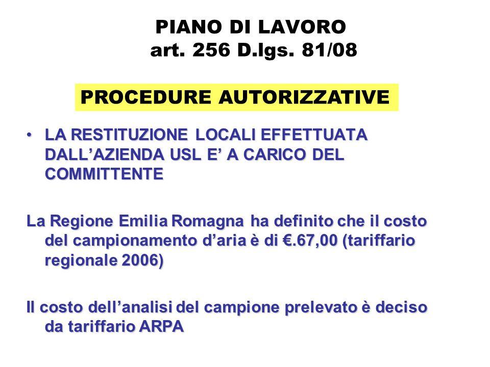 PIANO DI LAVORO ex art.256 D.lgs. 81/08 PROCEDURE AUTORIZZATIVE LESPERIENZA DELLE AZ.
