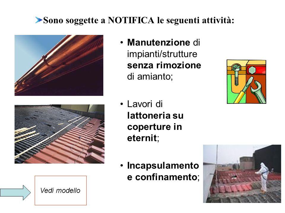 Trattamento e smaltimento di MCA rimosso; Lavorazioni negli impianti di stoccaggio Piccoli lavori manutentivi su acquedotti.