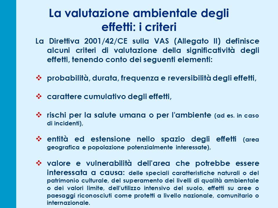La valutazione ambientale degli effetti: i criteri La Direttiva 2001/42/CE sulla VAS (Allegato II) definisce alcuni criteri di valutazione della signi