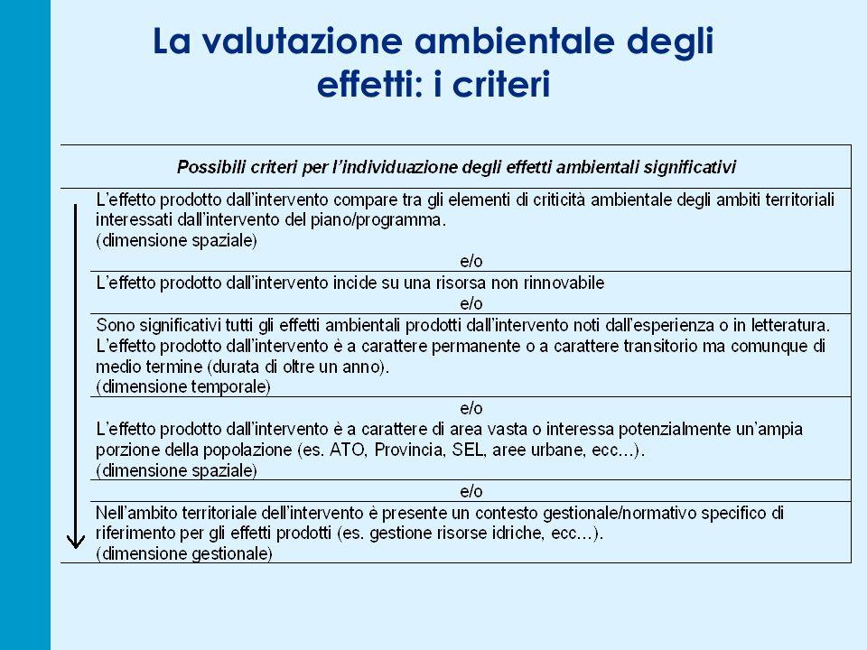 La valutazione ambientale degli effetti: i criteri