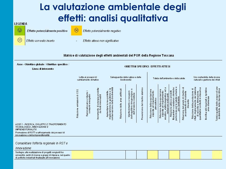 La valutazione ambientale degli effetti: analisi qualitativa