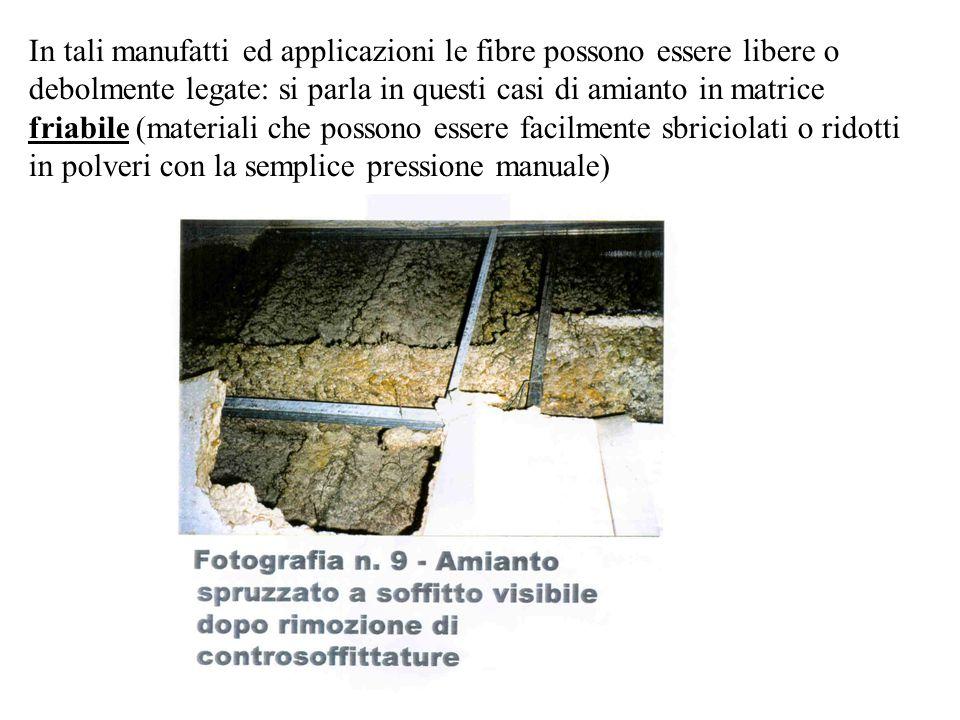 In tali manufatti ed applicazioni le fibre possono essere libere o debolmente legate: si parla in questi casi di amianto in matrice friabile (material