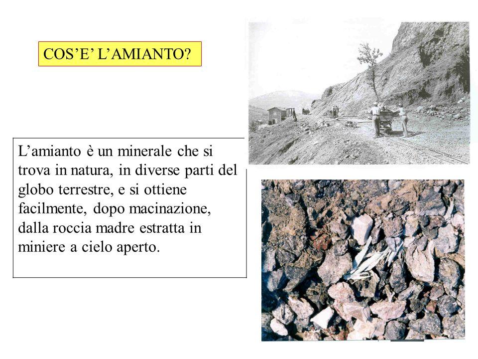 Lamianto è un minerale che si trova in natura, in diverse parti del globo terrestre, e si ottiene facilmente, dopo macinazione, dalla roccia madre est