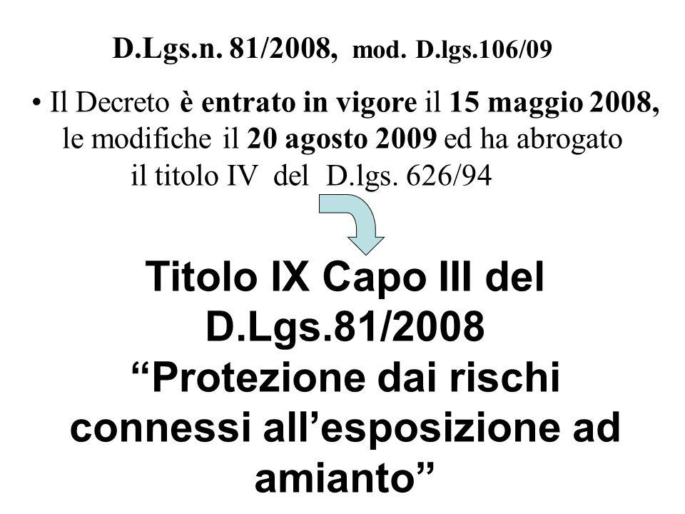 D.Lgs.n. 81/2008, mod. D.lgs.106/09 Titolo IX Capo III del D.Lgs.81/2008 Protezione dai rischi connessi allesposizione ad amianto Il Decreto è entrato