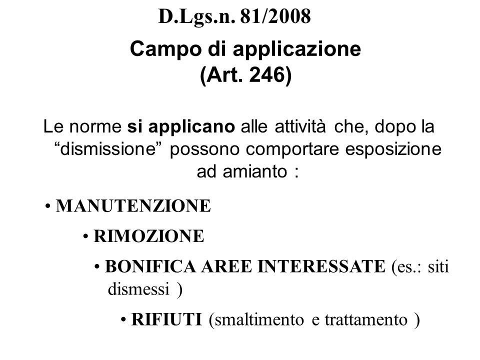 D.Lgs.n. 81/2008 Campo di applicazione (Art. 246) Le norme si applicano alle attività che, dopo la dismissione possono comportare esposizione ad amian
