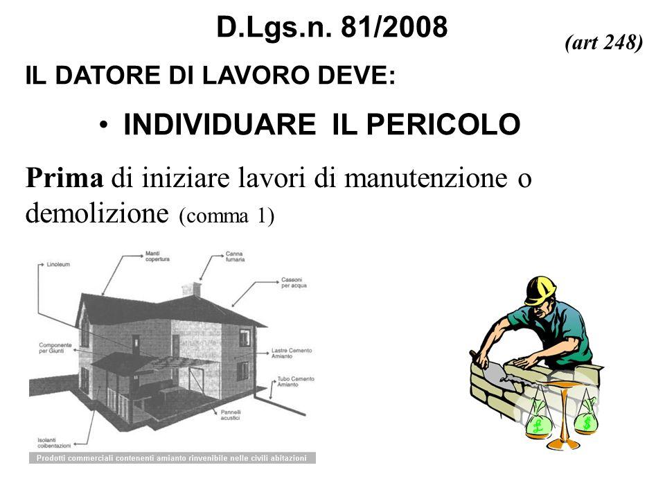 IL DATORE DI LAVORO DEVE: D.Lgs.n. 81/2008 Prima di iniziare lavori di manutenzione o demolizione (comma 1) (art 248) INDIVIDUARE IL PERICOLO