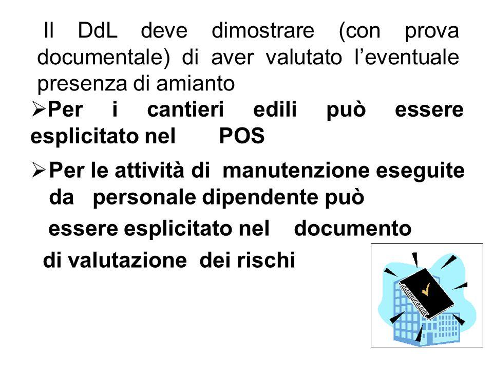 Il DdL deve dimostrare (con prova documentale) di aver valutato leventuale presenza di amianto Per i cantieri edili può essere esplicitato nel POS Per