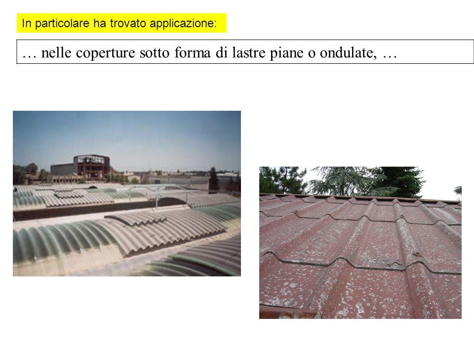 In particolare ha trovato applicazione: … nelle coperture sotto forma di lastre piane o ondulate, …