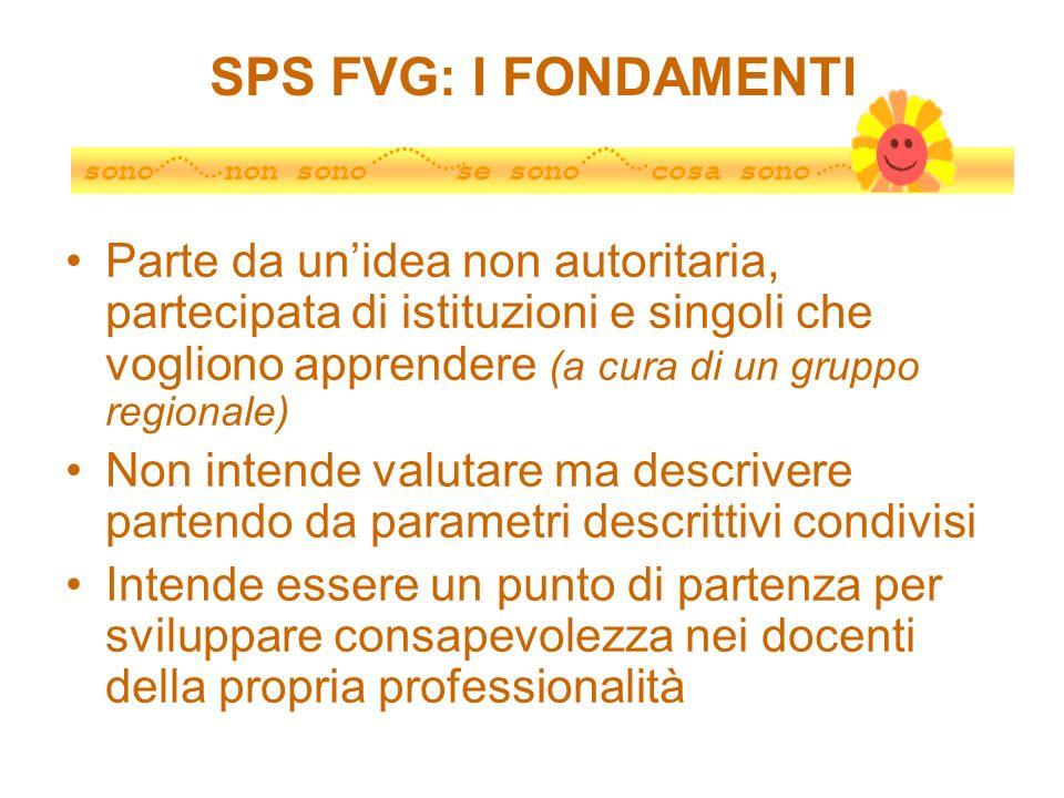 SPS FVG: I FONDAMENTI Parte da unidea non autoritaria, partecipata di istituzioni e singoli che vogliono apprendere (a cura di un gruppo regionale) No
