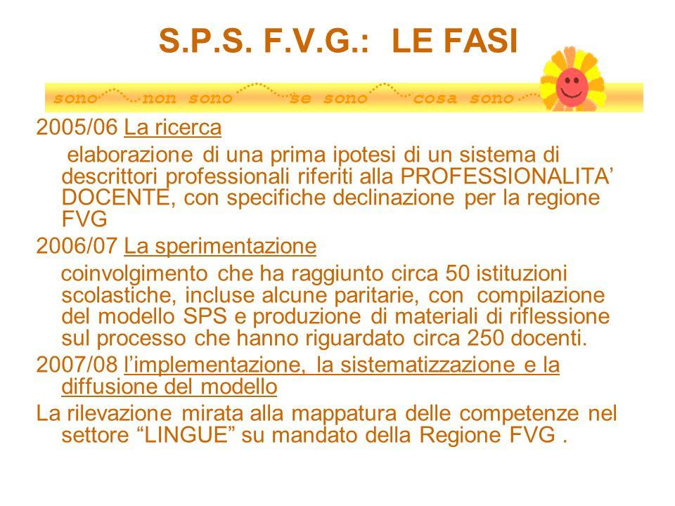 S.P.S. F.V.G.: LE FASI 2005/06 La ricerca elaborazione di una prima ipotesi di un sistema di descrittori professionali riferiti alla PROFESSIONALITA D