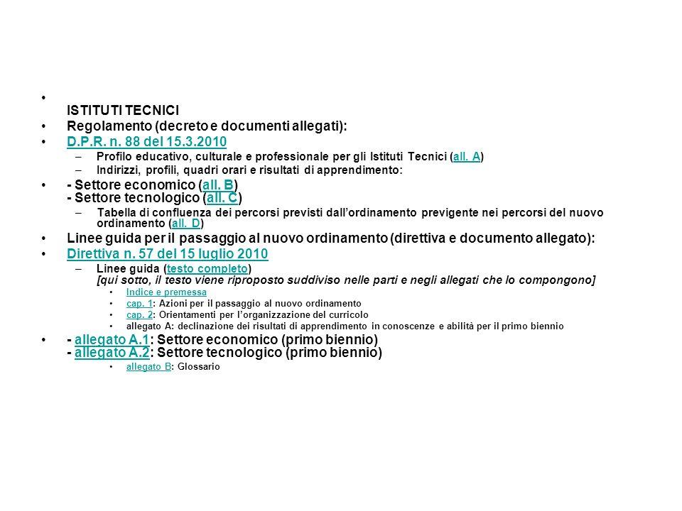 ISTITUTI TECNICI Regolamento (decreto e documenti allegati): D.P.R. n. 88 del 15.3.2010 –Profilo educativo, culturale e professionale per gli Istituti