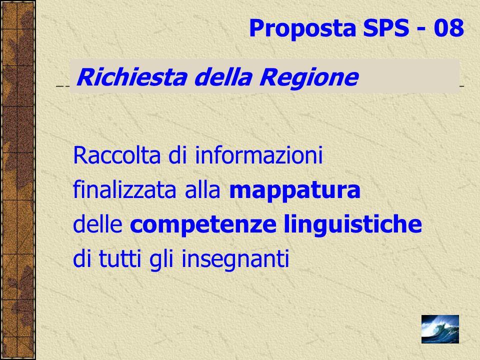 Raccolta di informazioni finalizzata alla mappatura delle competenze linguistiche di tutti gli insegnanti Richiesta della Regione Proposta SPS - 08