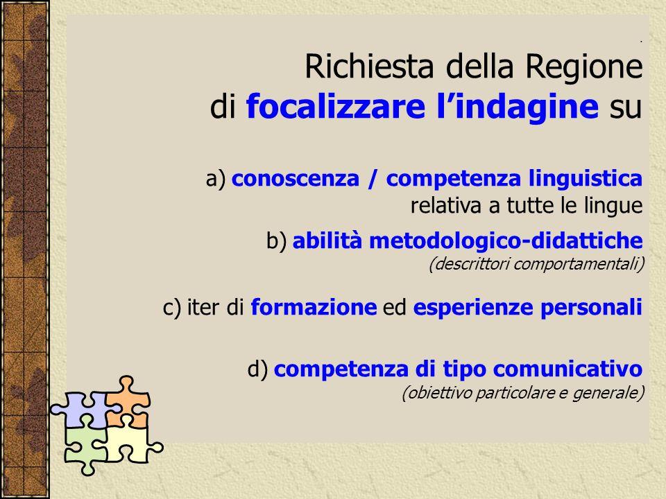 . Richiesta della Regione di focalizzare lindagine su a) conoscenza / competenza linguistica relativa a tutte le lingue b) abilità metodologico-didatt