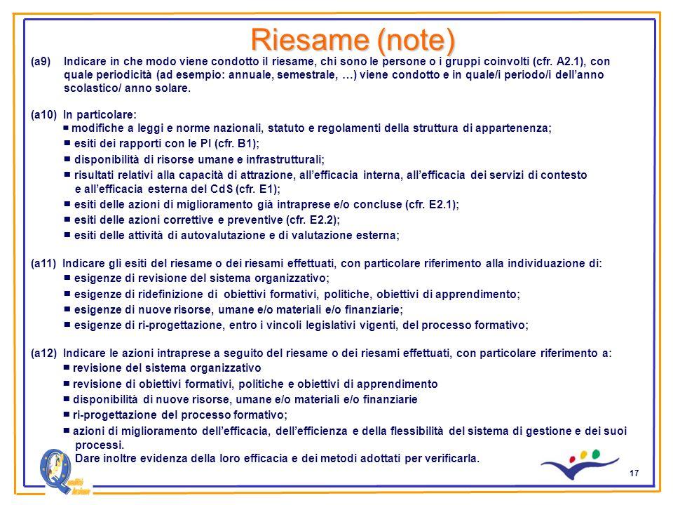 17 Riesame (note) (a9)Indicare in che modo viene condotto il riesame, chi sono le persone o i gruppi coinvolti (cfr. A2.1), con quale periodicità (ad
