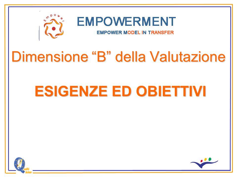 Dimensione B della Valutazione ESIGENZE ED OBIETTIVI