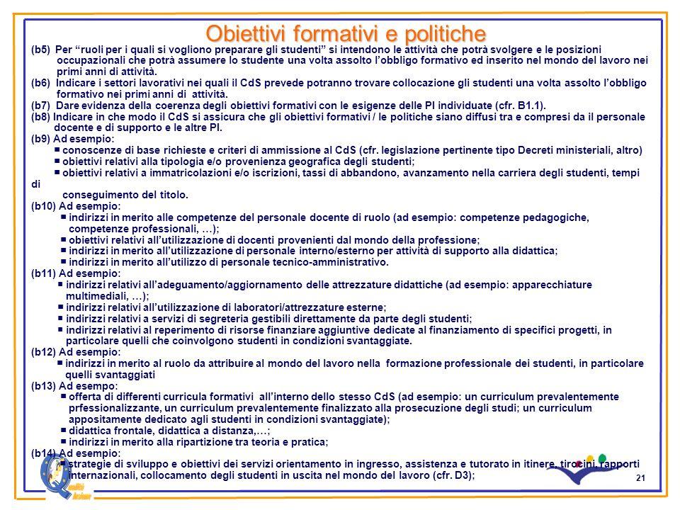 21 Obiettivi formativi e politiche (b5) Per ruoli per i quali si vogliono preparare gli studenti si intendono le attività che potrà svolgere e le posi