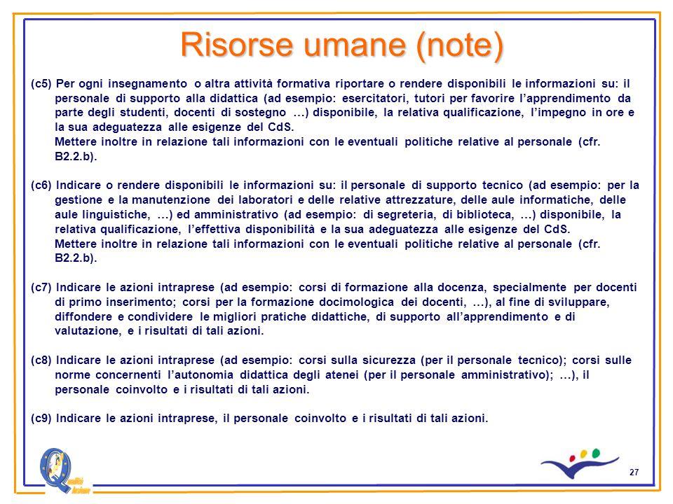 27 Risorse umane (note) (c5) Per ogni insegnamento o altra attività formativa riportare o rendere disponibili le informazioni su: il personale di supp
