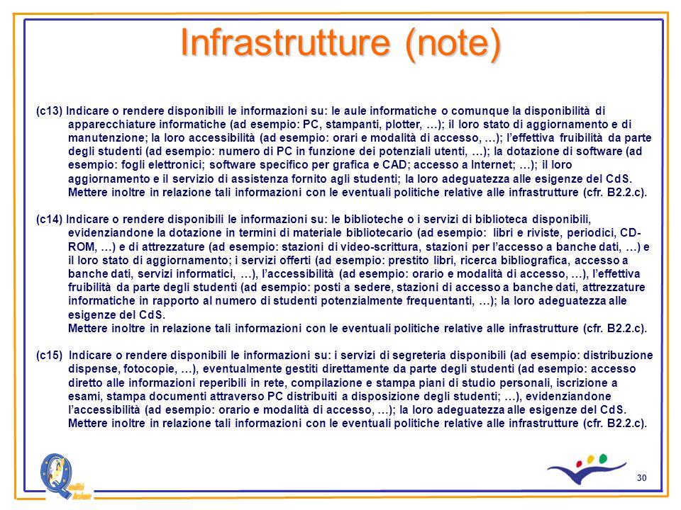 30 Infrastrutture (note) (c13) Indicare o rendere disponibili le informazioni su: le aule informatiche o comunque la disponibilità di apparecchiature informatiche (ad esempio: PC, stampanti, plotter, …); il loro stato di aggiornamento e di manutenzione; la loro accessibilità (ad esempio: orari e modalità di accesso, …); leffettiva fruibilità da parte degli studenti (ad esempio: numero di PC in funzione dei potenziali utenti, …); la dotazione di software (ad esempio: fogli elettronici; software specifico per grafica e CAD; accesso a Internet; …); il loro aggiornamento e il servizio di assistenza fornito agli studenti; la loro adeguatezza alle esigenze del CdS.