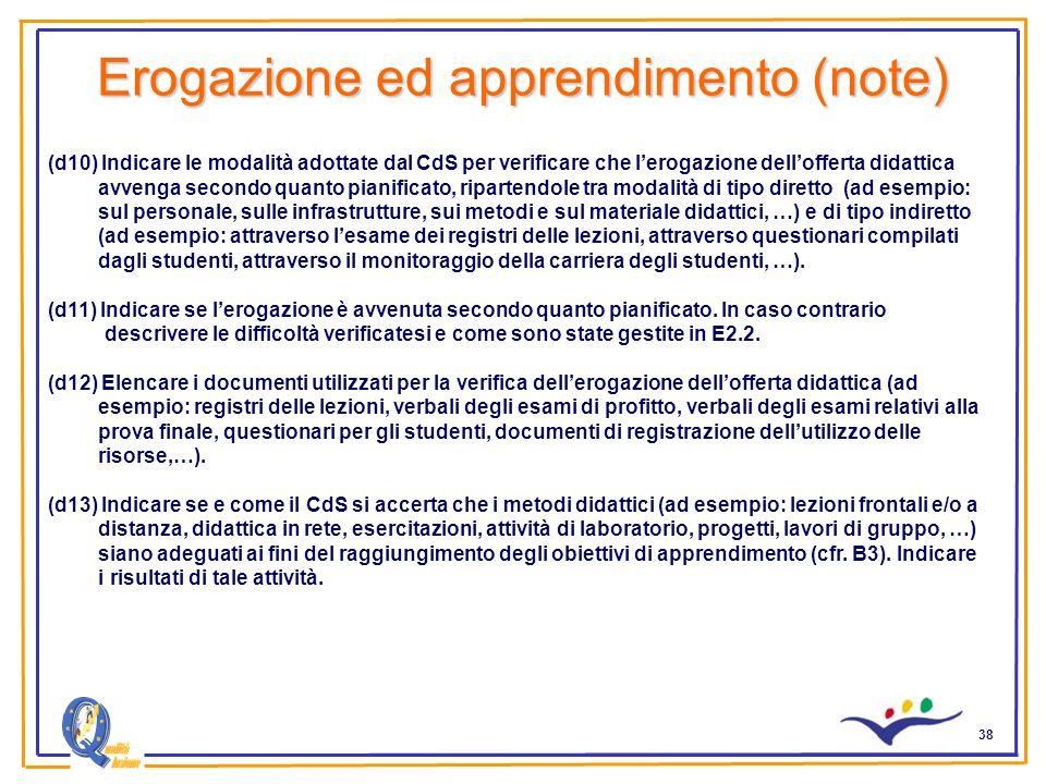 38 Erogazione ed apprendimento (note) (d10) Indicare le modalità adottate dal CdS per verificare che lerogazione dellofferta didattica avvenga secondo