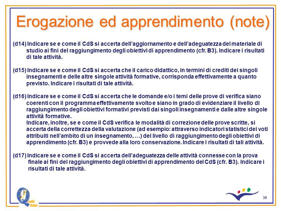 39 Erogazione ed apprendimento (note) (d14) Indicare se e come il CdS si accerta dellaggiornamento e delladeguatezza del materiale di studio ai fini del raggiungimento degli obiettivi di apprendimento (cfr.