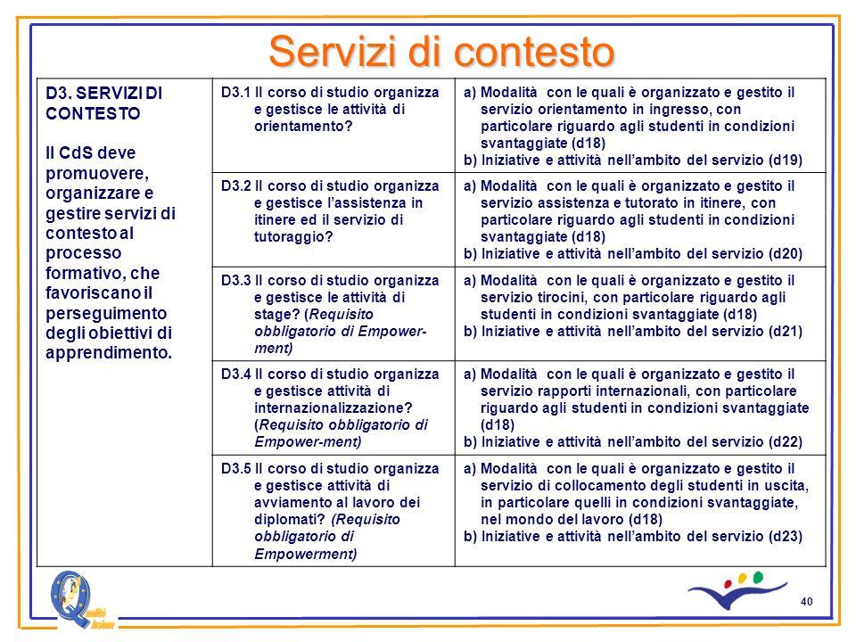 40 Servizi di contesto D3. SERVIZI DI CONTESTO Il CdS deve promuovere, organizzare e gestire servizi di contesto al processo formativo, che favoriscan