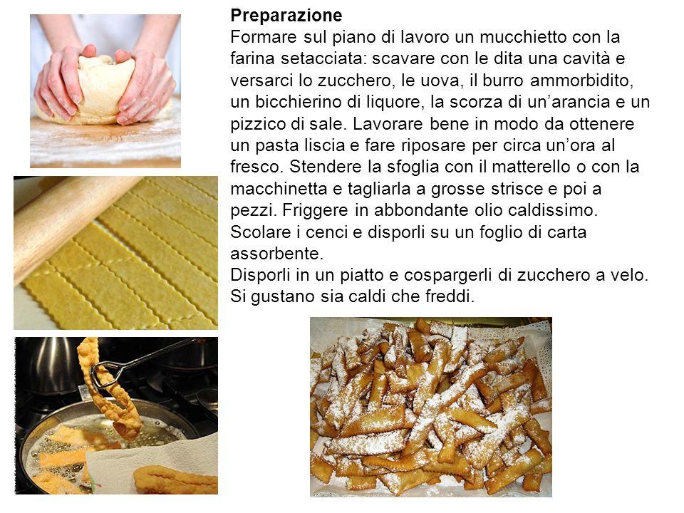 Preparazione Formare sul piano di lavoro un mucchietto con la farina setacciata: scavare con le dita una cavità e versarci lo zucchero, le uova, il bu