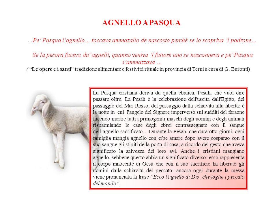 …Pe Pasqua lagnello… toccava ammazallo de nascosto perché se lo scopriva l padrone… Se la pecora faceva du agnelli, quanno veniva l fattore uno se nas