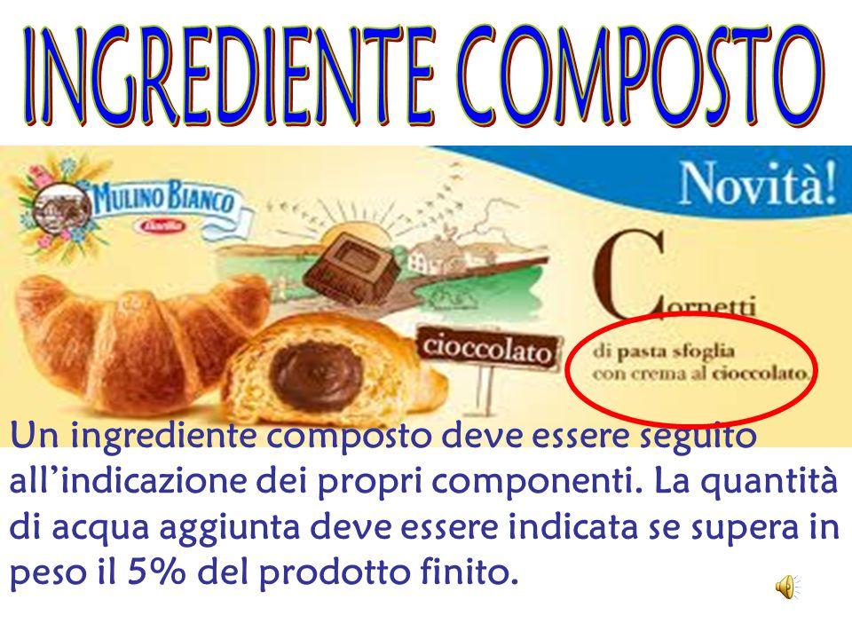 Un ingrediente composto deve essere seguito allindicazione dei propri componenti. La quantità di acqua aggiunta deve essere indicata se supera in peso