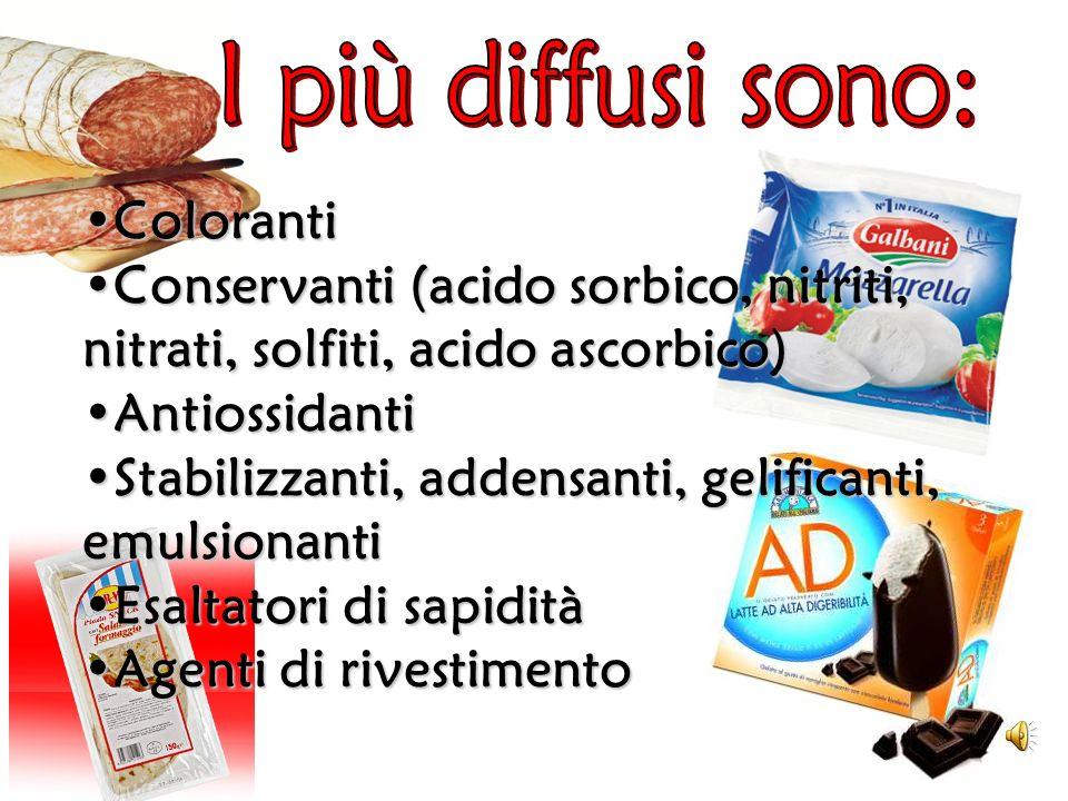 ColorantiColoranti Conservanti (acido sorbico, nitriti, nitrati, solfiti, acido ascorbico)Conservanti (acido sorbico, nitriti, nitrati, solfiti, acido