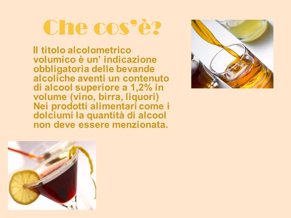 Che cosè ? Il titolo alcolometrico volumico è un indicazione obbligatoria delle bevande alcoliche aventi un contenuto di alcool superiore a 1,2% in vo