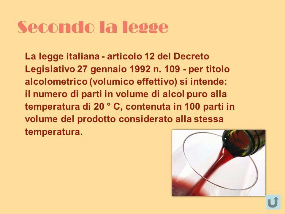 Secondo la legge La legge italiana - articolo 12 del Decreto Legislativo 27 gennaio 1992 n. 109 - per titolo alcolometrico (volumico effettivo) si int