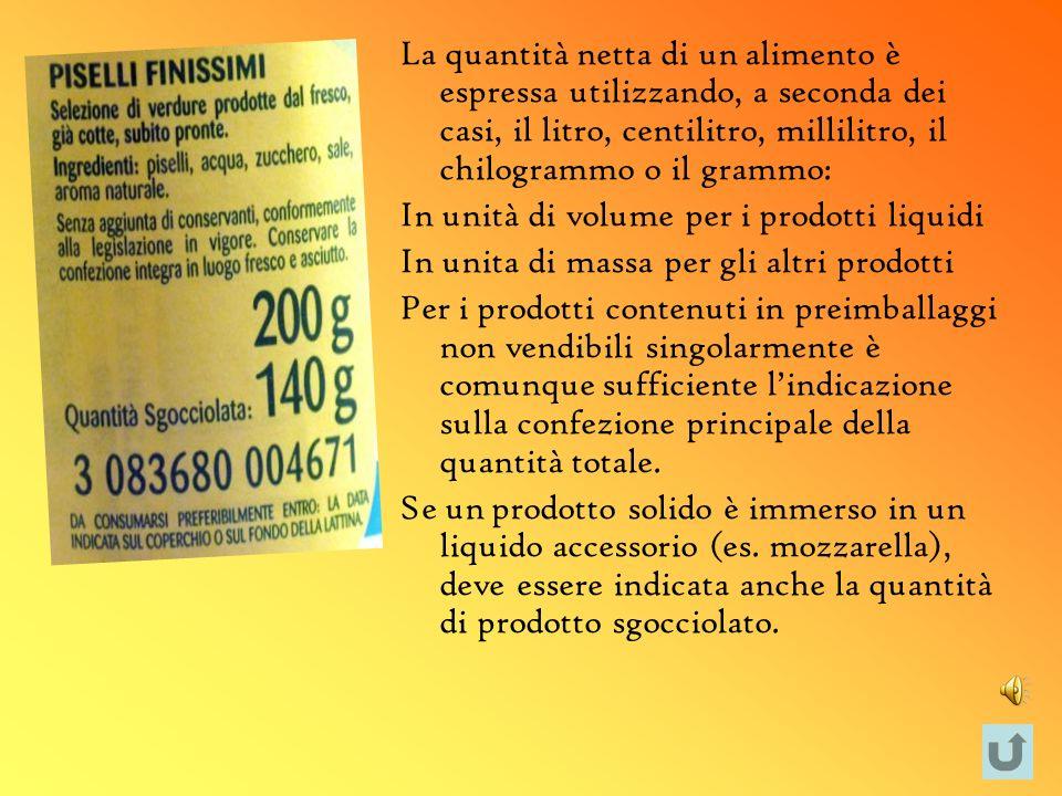La quantità netta di un alimento è espressa utilizzando, a seconda dei casi, il litro, centilitro, millilitro, il chilogrammo o il grammo: In unità di
