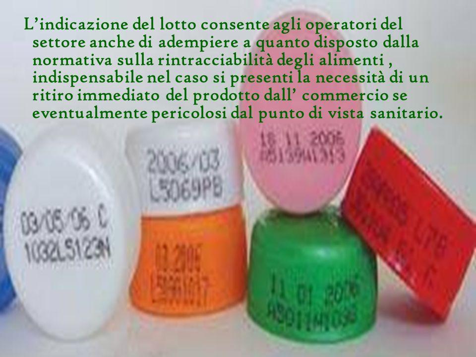 Lindicazione del lotto consente agli operatori del settore anche di adempiere a quanto disposto dalla normativa sulla rintracciabilità degli alimenti,