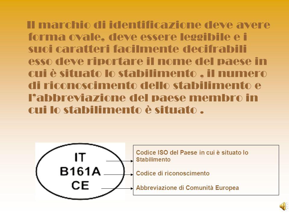Il marchio di identificazione deve avere forma ovale, deve essere leggibile e i suoi caratteri facilmente decifrabili esso deve riportare il nome del