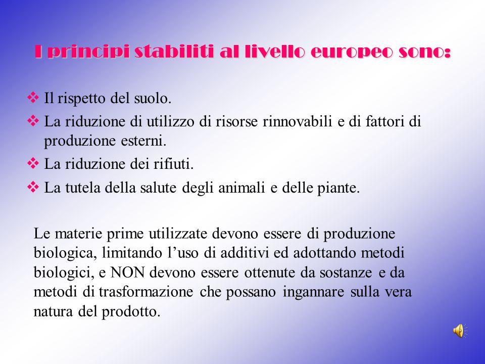 I principi stabiliti al livello europeo sono: Il rispetto del suolo. La riduzione di utilizzo di risorse rinnovabili e di fattori di produzione estern
