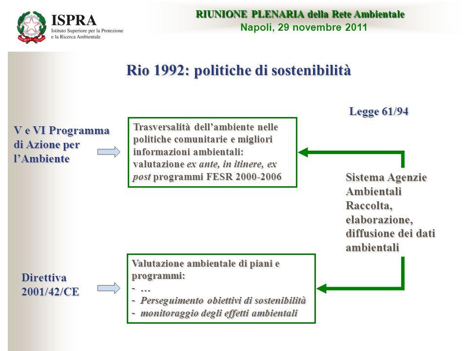V e VI Programma di Azione per lAmbiente Trasversalità dellambiente nelle politiche comunitarie e migliori informazioni ambientali: valutazione ex ant