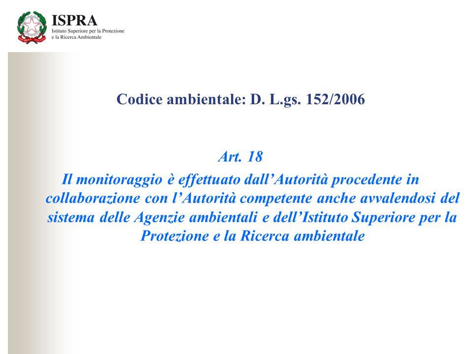 Codice ambientale: D. L.gs. 152/2006 Art. 18 Il monitoraggio è effettuato dallAutorità procedente in collaborazione con lAutorità competente anche avv