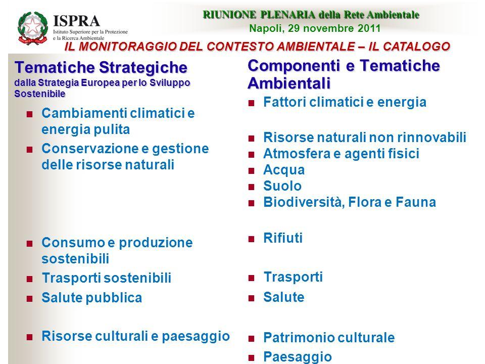Tematiche Strategiche dalla Strategia Europea per lo Sviluppo Sostenibile Cambiamenti climatici e energia pulita Conservazione e gestione delle risors