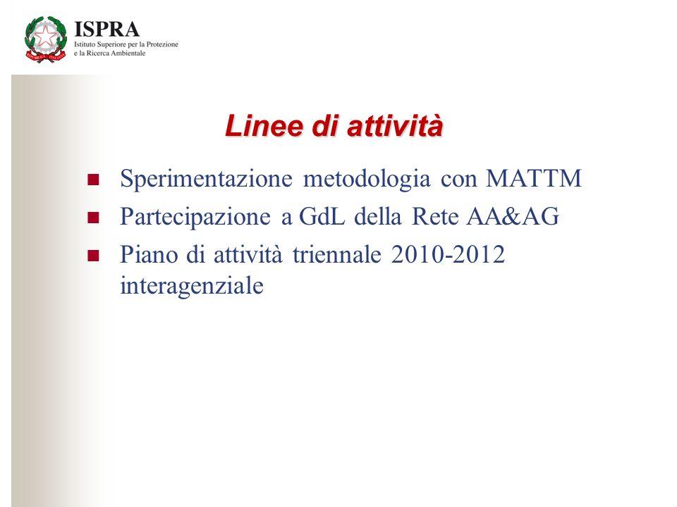Linee di attività Sperimentazione metodologia con MATTM Partecipazione a GdL della Rete AA&AG Piano di attività triennale 2010-2012 interagenziale