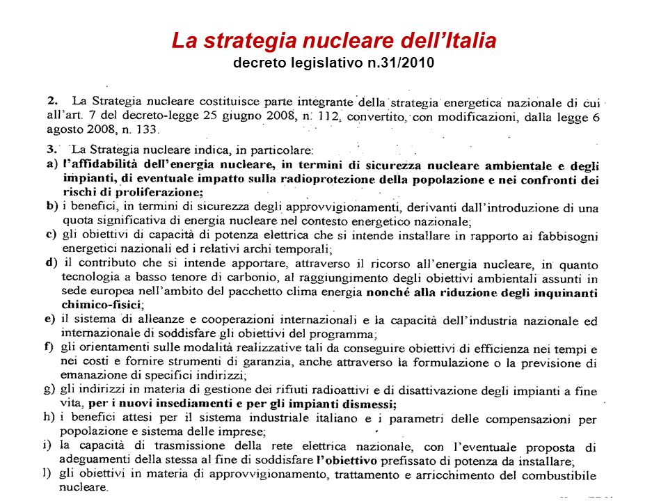 La strategia nucleare dellItalia decreto legislativo n.31/2010