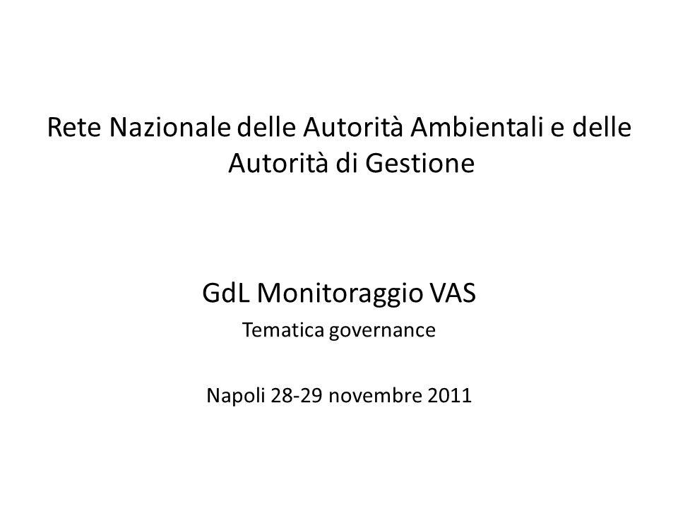 Rete Nazionale delle Autorità Ambientali e delle Autorità di Gestione GdL Monitoraggio VAS Tematica governance Napoli 28-29 novembre 2011