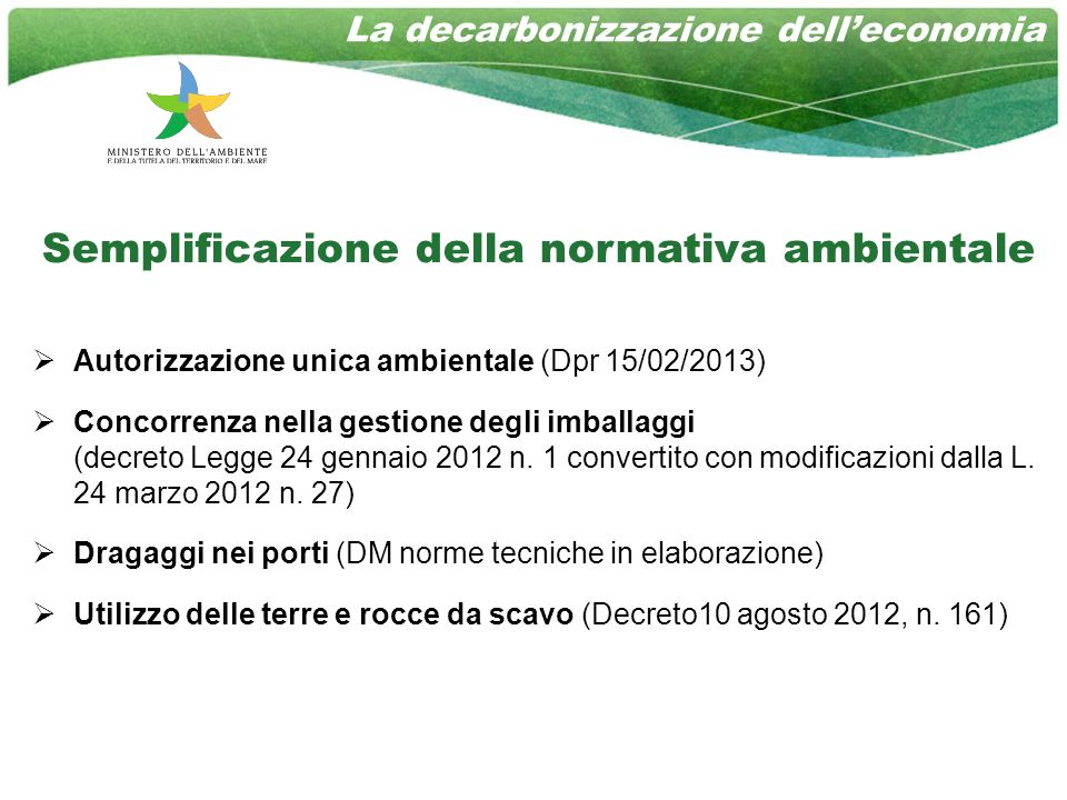Semplificazione della normativa ambientale Autorizzazione unica ambientale (Dpr 15/02/2013) Concorrenza nella gestione degli imballaggi (decreto Legge 24 gennaio 2012 n.