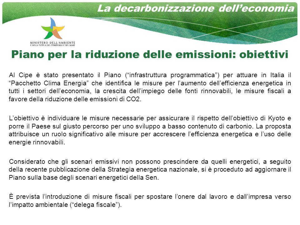 La decarbonizzazione delleconomia Piano per la riduzione delle emissioni: obiettivi Al Cipe è stato presentato il Piano (infrastruttura programmatica) per attuare in Italia il Pacchetto Clima Energia che identifica le misure per laumento dellefficienza energetica in tutti i settori delleconomia, la crescita dellimpiego delle fonti rinnovabili, le misure fiscali a favore della riduzione delle emissioni di CO2.