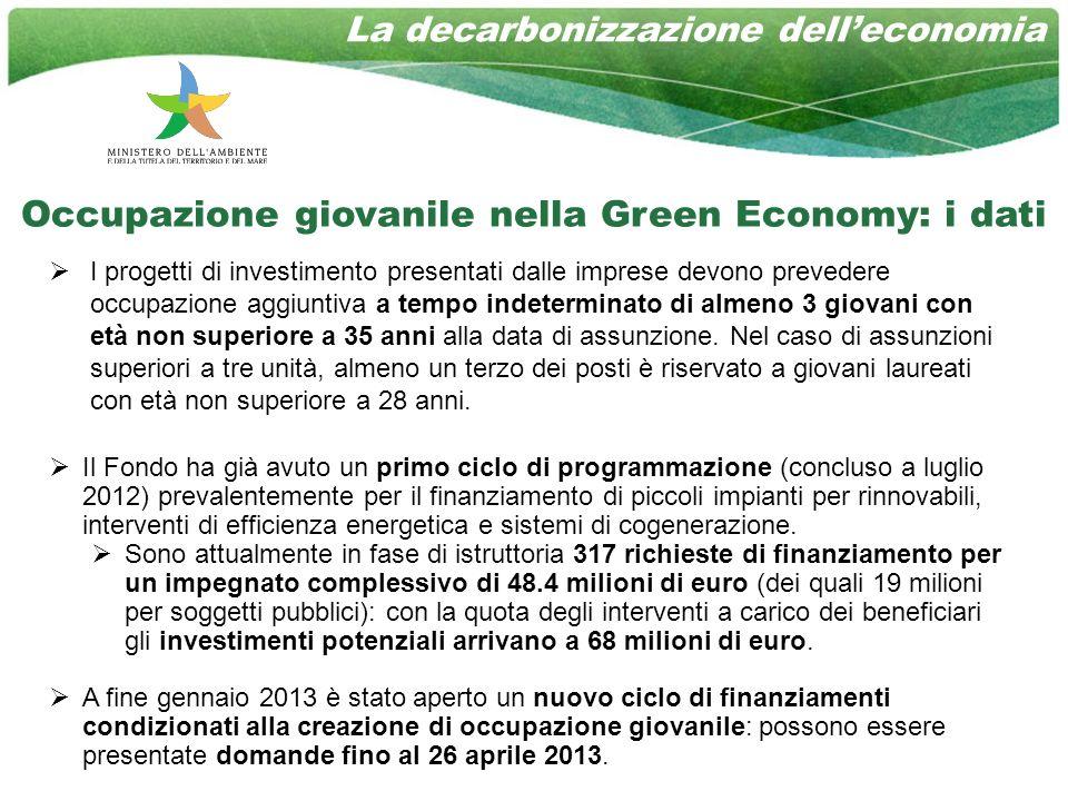 Occupazione giovanile nella Green Economy: i dati I progetti di investimento presentati dalle imprese devono prevedere occupazione aggiuntiva a tempo indeterminato di almeno 3 giovani con età non superiore a 35 anni alla data di assunzione.