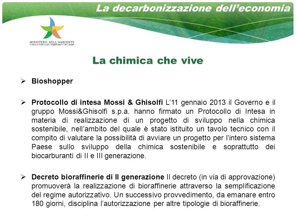 La chimica che vive Bioshopper Protocollo di intesa Mossi & Ghisolfi L11 gennaio 2013 il Governo e il gruppo Mossi&Ghisolfi s.p.a.