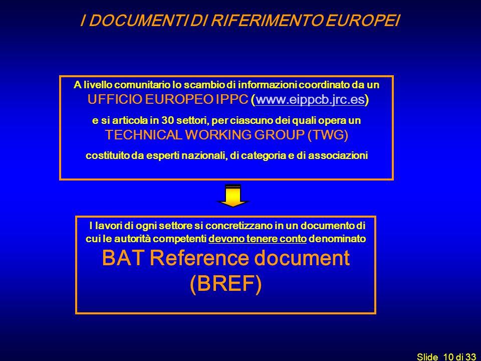 Slide 10 di 33 I lavori di ogni settore si concretizzano in un documento di cui le autorità competenti devono tenere conto denominato BAT Reference do