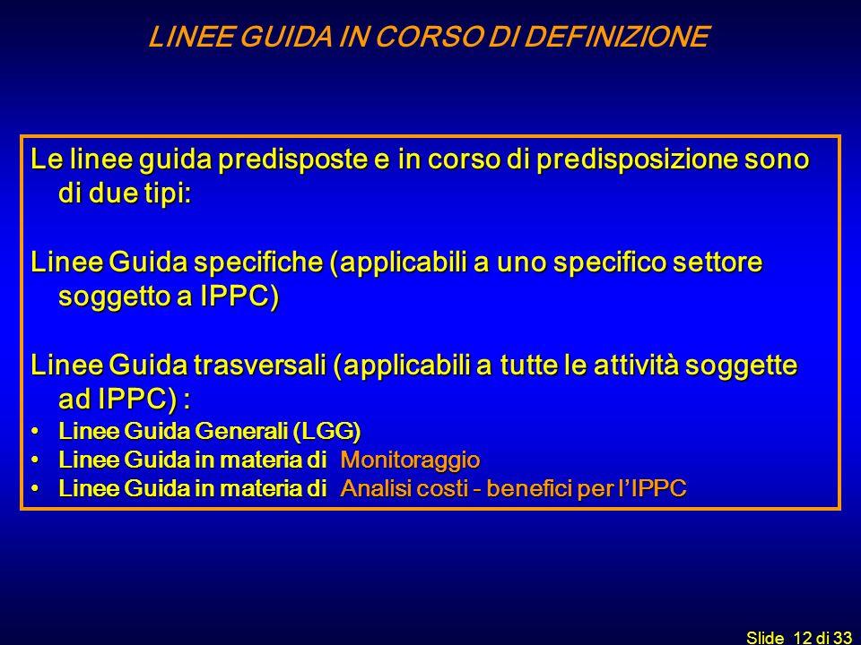 Slide 12 di 33 LINEE GUIDA IN CORSO DI DEFINIZIONE Le linee guida predisposte e in corso di predisposizione sono di due tipi: Linee Guida specifiche (