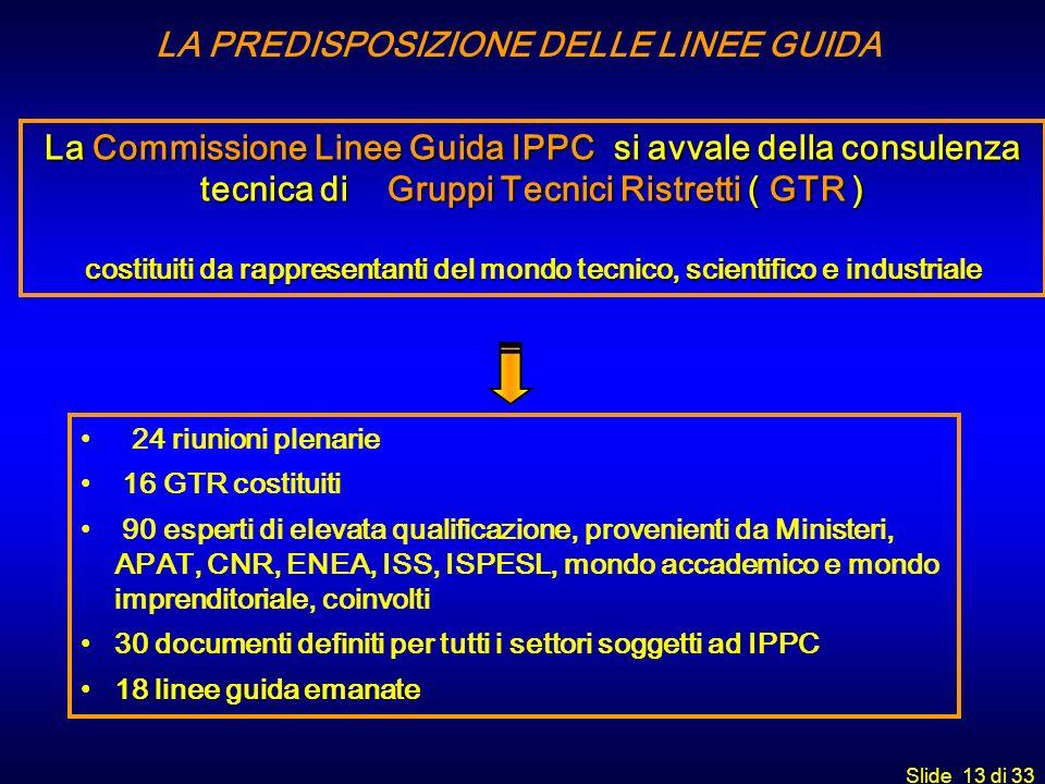 Slide 13 di 33 LA PREDISPOSIZIONE DELLE LINEE GUIDA La Commissione Linee Guida IPPC si avvale della consulenza tecnica di Gruppi Tecnici Ristretti ( G
